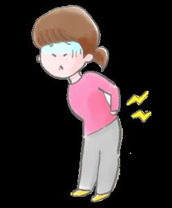 腰に痛みがある女性のイラスト